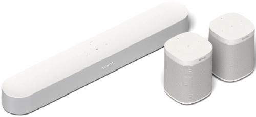 Sonos Beam with Play 1 Surrounds - White